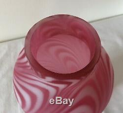 Extremely Rare Vintage Fenton Art Glass Rose Satin Swirled Feather Lamp Shade