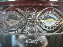 Eyewinker, Pink Glass, Round Cake Stand / Footed Cake Plate, Excellent Condition