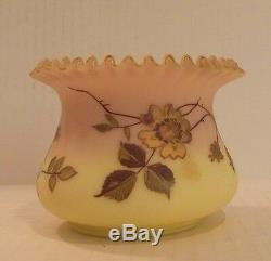 FABULOUS ANTIQUE MT. WASHINGTON BURMESE ART GLASS DECORATED ROSE BOWL, c. 1880