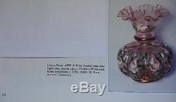 FENTONGLASSVINTAGE40sHD PAINTCHARLETON ROSESRUBY OVRL(CRANBERRY)SRC-8VASE