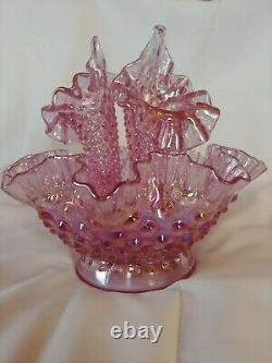 FENTON 4PC Hobnail Epergne Pink / Purple Carnival Iridized 3-Horn
