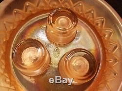 FENTON EPERGNE Dusty Velva Rose Pink Satin 3 Horn DIAMOND and LACE