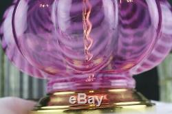 FENTON GLASS MELLON OPAL DRAPE PATTERN on ROSE COLORED TABLE LAMP 17
