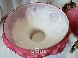 FENTON LG WRIGHT GLASS Pink PUFFY ROSE Parlor Lamp EUC
