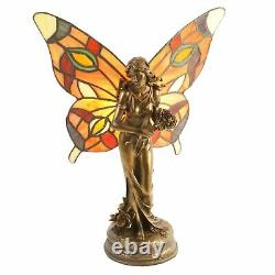 Fabulous Art Deco Butterfly Angel Fairy Tiffany Stained Glass Table Side Lamp