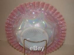 FentonSingleton BaileyExhausted Rooster Pink Opalescent Farmyard Chop Plate