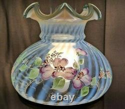 Fenton Art Glass 20 Student Desk Table Lamp Pink & Purple Flowers