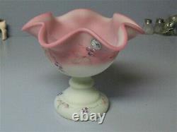 Fenton BURMESE EPERGNE Lotus Mist & Pink Berry & Butterfly 95 Anniversary 1 Horn