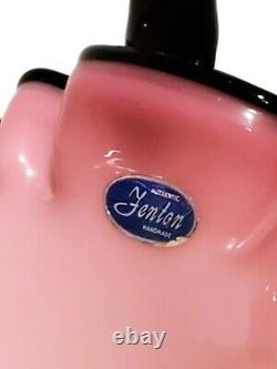Fenton Black Rose Crest Basket Mint Condition with Sticker Pink White Rare Brides