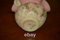 Fenton Burmese Diamond Optic Basket & Two Matching Crimped Vases 1995