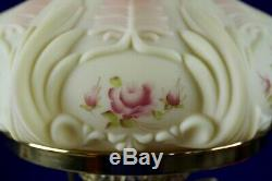 Fenton Burmese WithHand Painted Roses Student Lamp 1990 85th Anniversary A. Farley