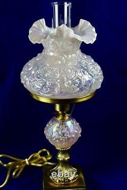 Fenton Champagne Satin Iridized Poppy Pattern Student Lamp 21 Tall