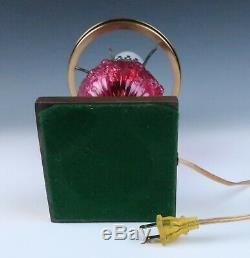 Fenton Cranberry Cabbage Rose GWTW Student Lamp Vintage Art Glass Table Desk