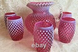 Fenton Cranberry Hobnail Water Set Pink Opalescent