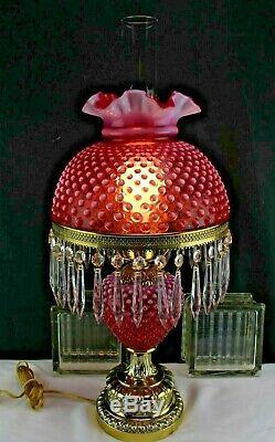 Fenton Cranberry Opalescent Hobnail Gone with the Wind Lamp with Hanging Prisms