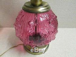 Fenton Cranberry Rose Gone with the Wind Victorian Electric Large Lamp 22+ t