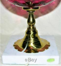 Fenton Cranberry Ruby Overlay Thumbprint Coin Optic Lamp