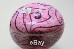 Fenton Dave Fetty Art Glass Pink Mosaic Donut Vase Fetty Mark