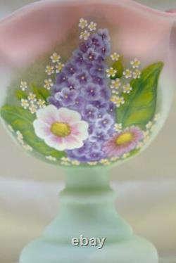 Fenton EPERGNE Lotus Mist Satin BUTTERFLIES n WILDFLOWERS Curren OOAK FREEusaSHP