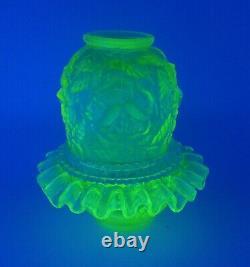 Fenton For LG Wright Yellow Topaz Vaseline Wild Rose 3 Piece Glass Fairy Lamp