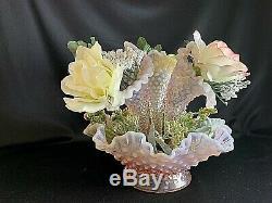 Fenton Glass 3 Horn Pink Opalescent Epergne Floral Centerpiece