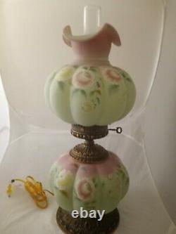 Fenton HP Lotus Mist Burmese Jumbo Melon GWTW Pink & Yellow Flowers Lamp 648/950