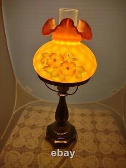 Fenton Hand Painted Burmese Diamond Optic Student Lamp 7 Fitter By S Jackson