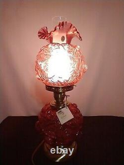 Fenton LG Wright Cranberry Glass Lamp Puffy Rose GWTW 2002 Original Box