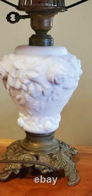 Fenton L. G. Wright GWTW Puffy Rose Cranberry Lamp