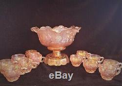 Fenton PANELED GRAPE Pink Sunset Stretch CARNIVAL Punch Bowl Set & 12 cups 4601