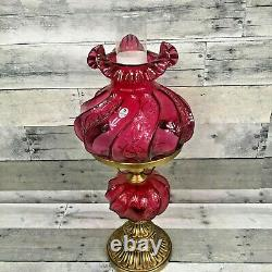 Fenton Paisley Cranberry Glass Hurricane Gone With The Wind Student Lamp GWTW