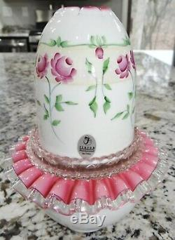 Fenton Peach Blow Hand Painted Fairy Lamp 3 pc Glass Pink Cranberry Vtg
