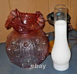 Fenton Pink Glass Cabbage Rose Electric Student Table Lamp 19 Tall Very Good