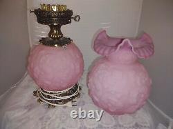 Fenton ROSALENE Satin Pink Poppy pattern Gone with the Wind Double Globe Lamp