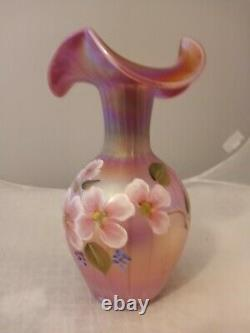 Fenton Raspberry Carnival Opalescent Iridized Tulips Floral Hand Painted Vase