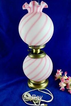 Fenton Rosalene Pink Swirl Candy Stripes GWTW Electric Lamp 23 1/2 Tall
