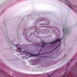 Fenton Signed Dave Fetty Vase Hanging Hearts Pink Bubble Optic