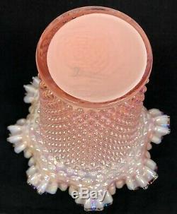 Fenton Sunset Pink Overlay Iridized Hobnail 8 Vase Ruffled Black Crest QVC 2002