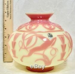 Fenton, Vase, Burmese Cameo Glass, Sandcarved, Limited Edition, Kelsey Murphy
