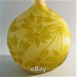 Fine 6.75 SIGNED GALLE Banjo-Form Pink & Yellow Cameo Glass Vase c. 1904