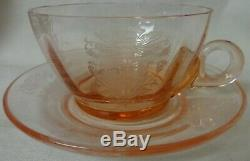 Flanders Pink Cup and Saucer Tiffin Glass Company