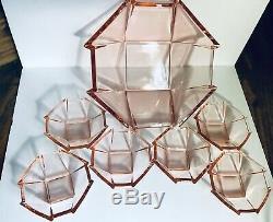 Fostoria Pink Depression glass bowl set Art Deco Rare 1 Large 10/6- 4.25bowls