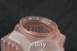 French Art Deco Pink Glass Skyscraper Chrome Fittings Pendant Light Working VGC