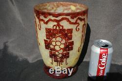 French Cameo Charder Schneider Le Verre Francaise Art Glass Vase Décor Cedre