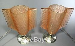 French Pierre D'Avesn Art Deco Glass Accent Lamps ca. 1930s Lalique Sabino Style
