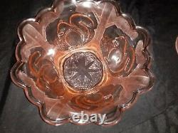 Frosted Pink Squirrel Art Deco Float Bowl Made by Sowerby Glass Works