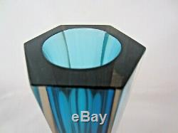 Geometric Italian Murano faceted art glass vase blue in pink hexagon shape