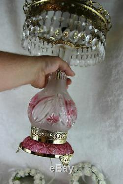 Gorgeous Bohemian Czech pink clear crystal glass cut Table desk lamp pendants