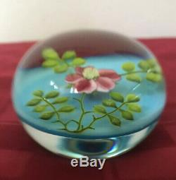 Gorgeous Paul STANKARD 1970's Wild Rose Blue Paperweight