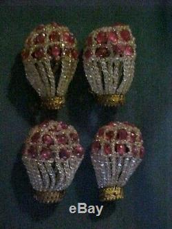 Great SET of 4 Czech Bohemian CUT CRYSTAL &PINK Art Glass Bulb Cover Lamp Shades